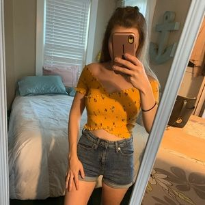 Hollister yellow printed off the shoulder crop top